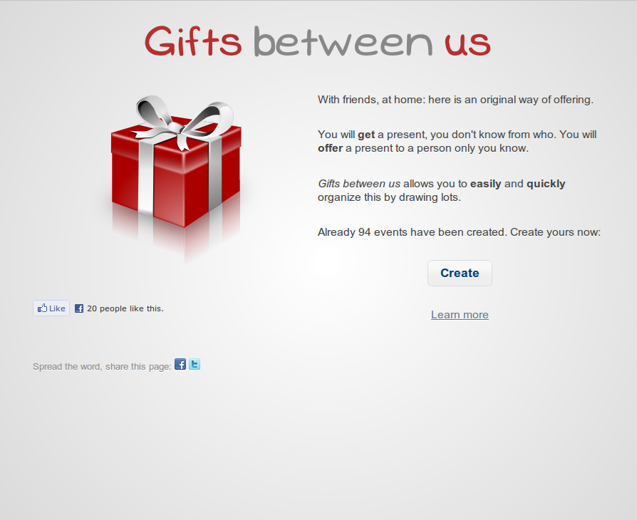 The Gifts between us Home page