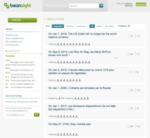 Main page when logged into Beansight